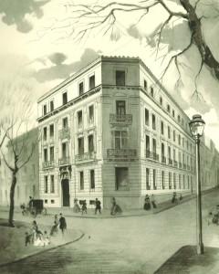 La primera sede del Banco Español de Crédito en el madrileño Paseo de Recoletos.