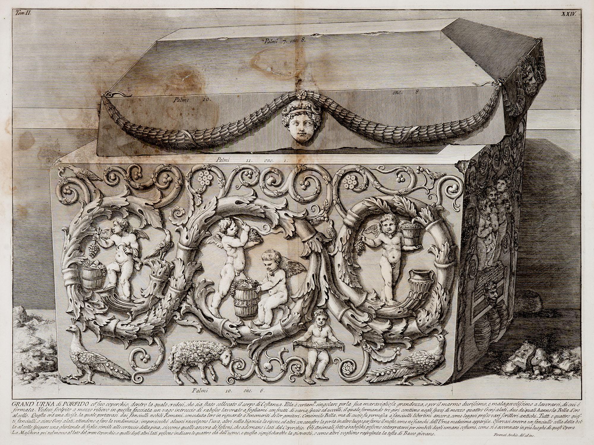 31.Grand'Urna di porfido co'suo coperchio, dentro la quale credesi, che sia stato collocato il corpo di Costanza…